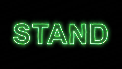 Neon flickering green text STAND in the haze. Alpha channel Premultiplied - Animation