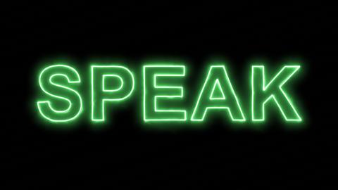 Neon flickering green text SPEAK in the haze. Alpha channel Premultiplied - Animation