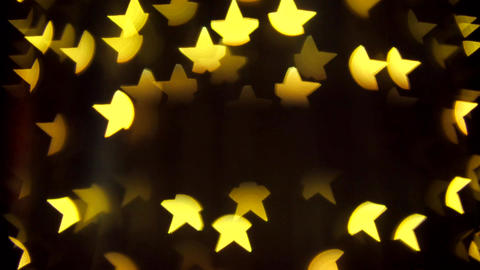 Yellow Star Shape Led Lights Bokeh Christmas Background. 4K Footage