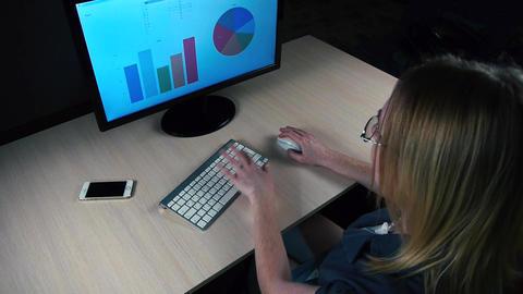 she edits the financial charts and diagrams on monitor GIF