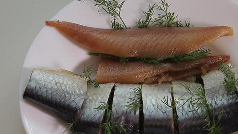 Salted herring with caviar Footage