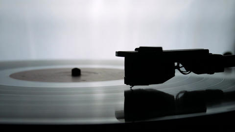 Spinning Record Player With Vintage Vinyl Footage