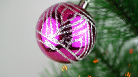 Violet baubles on Christmas tree. Christmas and New Year Decoration Footage