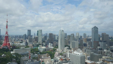 High angle timelapse of cloudscape over central Tokyo Footage