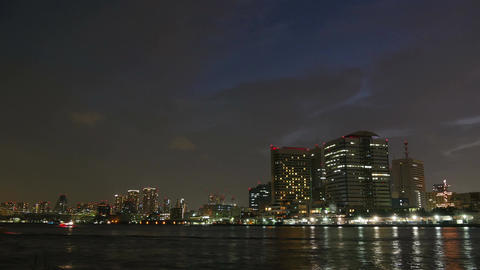 City light timelapse of Tokyo waterfront Footage