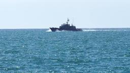 Coastguard ship passing Footage