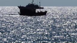 Coastguard ship and fishing boat Footage