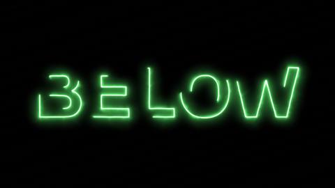 Neon flickering green text BELOW in the haze. Alpha… Stock Video Footage