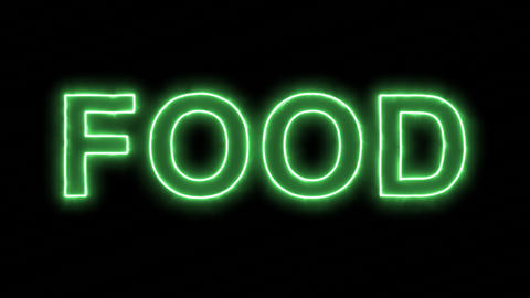 Neon flickering green text FOOD in the haze. Alpha channel Premultiplied - Animation