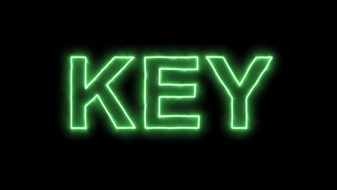 Neon flickering green text KEY in the haze. Alpha channel Premultiplied - Matted Animation