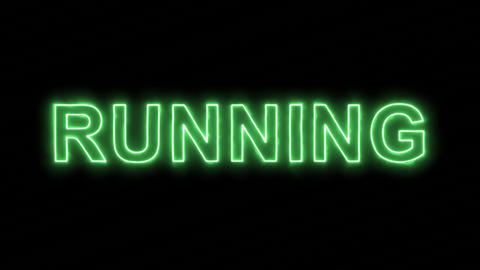 Neon flickering green text RUNNING in the haze. Alpha channel Premultiplied - Animation