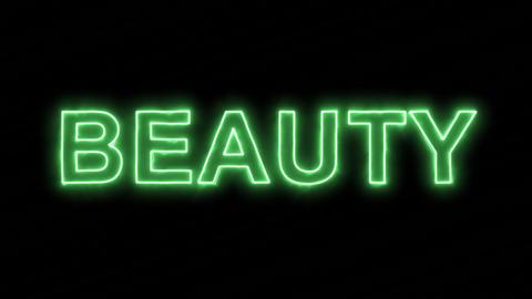 Neon flickering green text BEAUTY in the haze. Alpha... Stock Video Footage