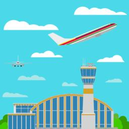 Airport airplanes Flat style Vector ベクター