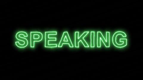 Neon flickering green text SPEAKING in the haze. Alpha channel Premultiplied - Animation