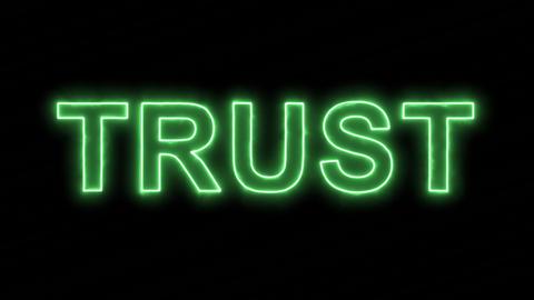 Neon flickering green text TRUST in the haze. Alpha channel Premultiplied - Animation