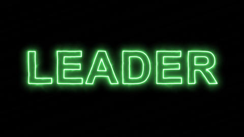 Neon flickering green text LEADER in the haze. Alpha channel Premultiplied - Animation