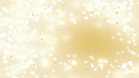 Golden stars falling over beautiful soft golden background, blurred lights and Animation