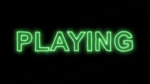 Neon flickering green text PLAYING in the haze. Alpha channel Premultiplied - Animation
