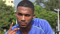 Impatient Nervous Black Male Athlete Footage