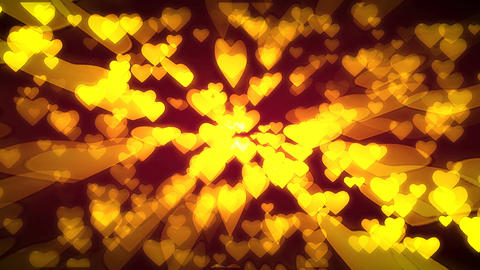 Gold hearts flying. 3D rendering Image