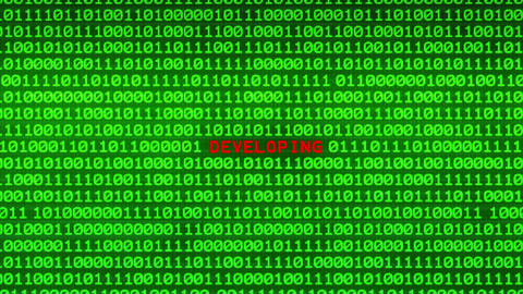 DEVELOPING Revealing in Wall of Green Binary Code Binary Data Matrix Background Animation