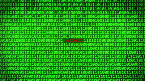 HACKED Revealing in Wall of Green Binary Code Binary Data Matrix Background Animation