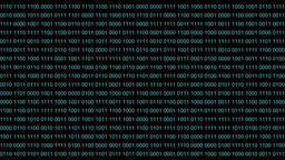 Binary code backdrop background. Blue digit numbers 0 1 one zero runs semless Footage