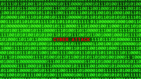 CYBER ATTACK Revealing in Wall of Green Binary Code Binary Data Matrix Animation