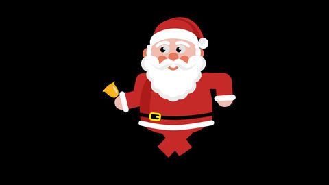 Walking Santa with bell. Cartoon animation Animation