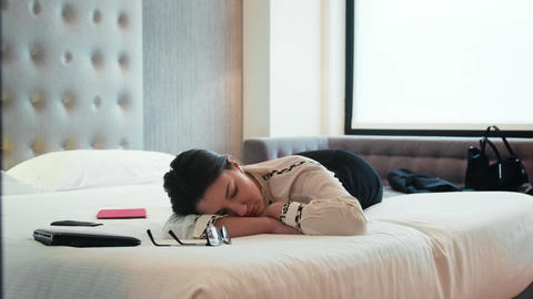 Tired Businesswoman Napping Exhausted Business Woman Sleeping In Hotel Room Live Action
