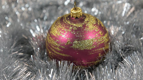 Red large New Year and Christmas decorations glass ball - decorations Footage