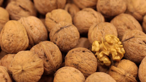 Close-up of the rotation of walnut fruit Footage