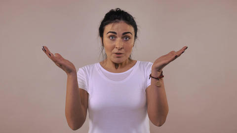 female shows emotion chagrin Footage