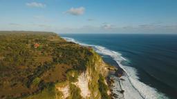 Rocky coastline on the island of Bali. Aerial view Footage