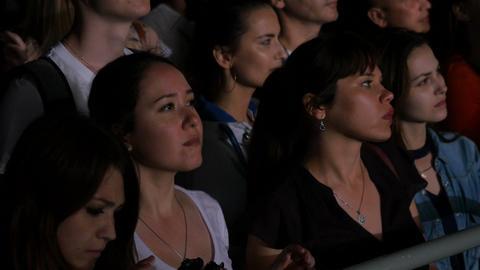 Side View Happy Spectators Enjoys Performance Art Festival Footage