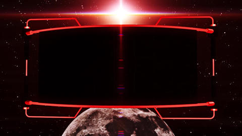 3D Red Screen Monitor on The Moon Intro Logo Background Image