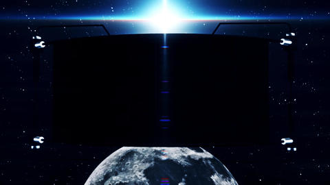 3D Black Screen Monitor on The Moon Intro Logo Background Animation