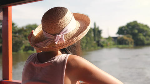 Young Hipster Tourist Girl in Big Hat Sightseeing and Enjoing Cruise on Boat at Footage