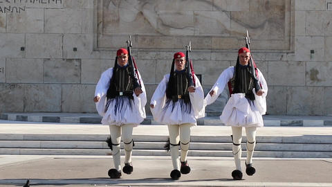 Greek guards in front of the Tomb of the Unknown Soldier Animation