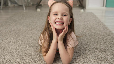 Cute little girl smiling Footage