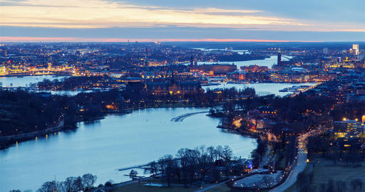 Scenic old city architecture sunset panorama of Stockholm, Sweden time-lapse Footage