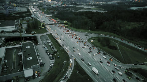 Aerial view of big city highway in the evening rush hour Footage