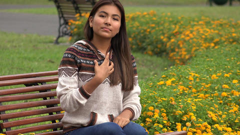 Serious Young Hispanic Female Teen Footage