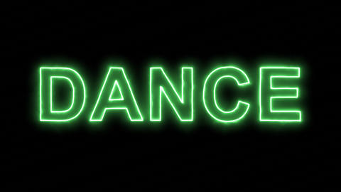 Neon flickering green text DANCE in the haze. Alpha channel Premultiplied - Animation