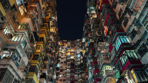 Hong Kong - 4K resolution time lapse. Lights of residential building glowing at Footage