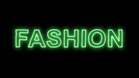 Neon flickering green text FASHION in the haze. Alpha channel Premultiplied - Animation