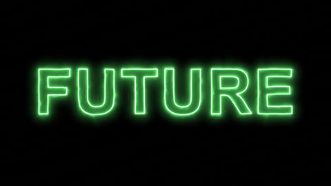 Neon flickering green text FUTURE in the haze. Alpha channel Premultiplied - Animation