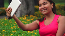 Female Teen Tablet Selfy Live Action