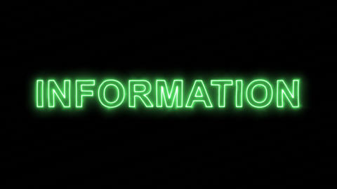 Neon flickering green text INFORMATION in the haze. Alpha channel Premultiplied Animation