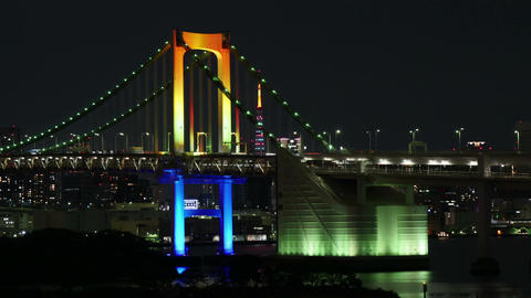 Traffic on the Tokyo Rainbow Bridge over the bay Footage